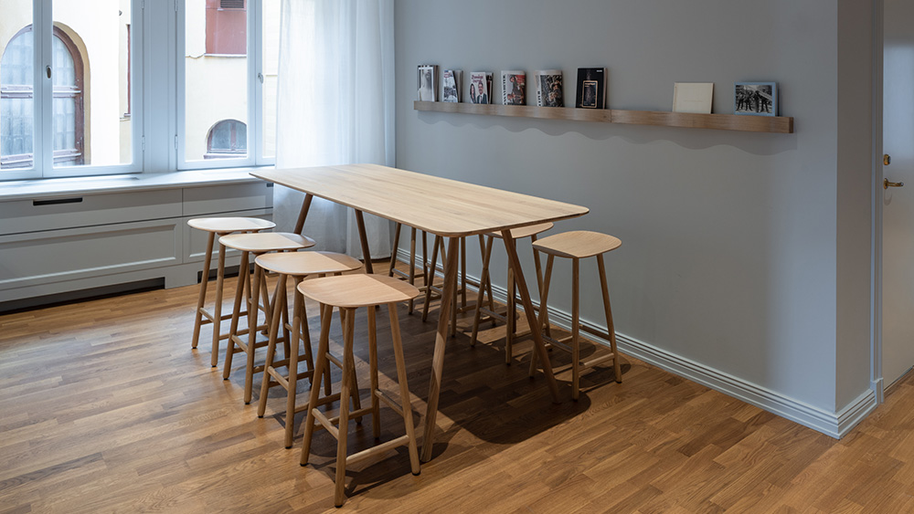 Cavetto storage, Press folding table, Svall magazine shelf, Shell stool, Karl Andersson Söner